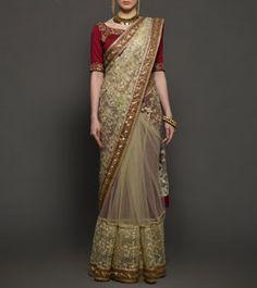 Golden & Wine Zari Embroidered Dupion Silk Saree