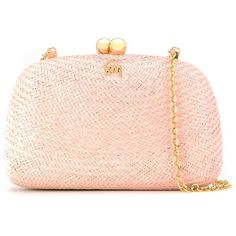 Serpui Internal Pocket Shoulder Clutch (£305) ❤ liked on Polyvore featuring bags, handbags, clutches, pink clutches, pink handbags, pink purse, straw clutches and straw purses