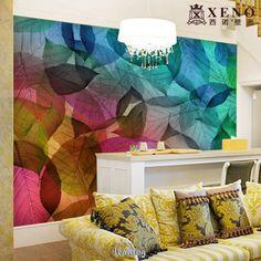 O grande mural papel de parede sala tv parede sofá saguão fundo de parede modernos folhas papel de parede US $26.00