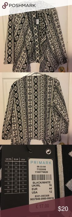 NWT Primark jacket Brand new purchased in London at Primark! It's a little small for me so I'm selling. Lightweight material in tribal print. Fringe on the sides. Primark Jackets & Coats Blazers