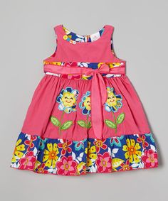 Look at this #zulilyfind! the Silly Sissy Fuchsia Floral Sash Dress - Infant, Toddler & Girls by the Silly Sissy #zulilyfinds