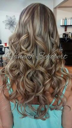 Beautiful highlight lowlight with brown and blonde dimension. Hair color by hannah