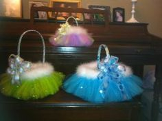 Tutu on an Easter Basket, add fur and bow!
