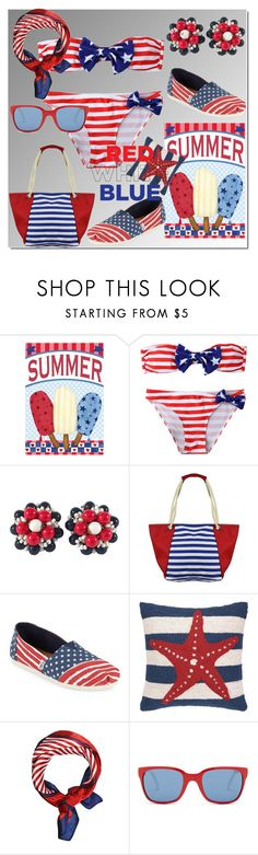 """Без названия #2812"" by ilona-828 ❤ liked on Polyvore featuring Miriam Haskell, TOMS, Polo Ralph Lauren and fourthofjuly"