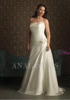 Sleeveless Lace-up Strapless Beach Wedding Dresses