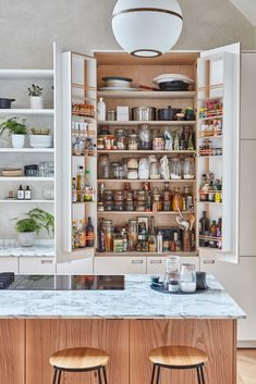 white kitchen larder with built-in spice racks Kitchen Tops, Kitchen Units, Kitchen Shelves, Kitchen Island, Kitchen Larder, Kitchen Storage, Kitchen Ideas, Popular Kitchen Colors, Kitchen Color Trends