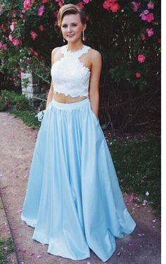 Prom Dress,two piece prom dress, prom dresses, white
