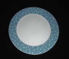 SCHONWALD # Scd64 MID CENTURY MODERN SALAD PLATE - WHITE w/BLUE LINES & SQUARES