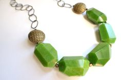 The Kriston Olive Green Jade and Brass Chain by danaleblancdesigns, $56.00