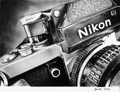 "Nikon F2 camera, Still Life drawing, 11"" x 8,5"" Print of original graphite drawing"