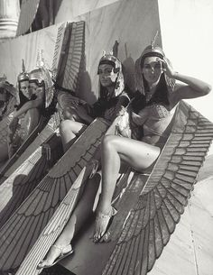 Female extras relaxing on set of the most expensive movie ever made (at the time) - Cleopatra, 1963