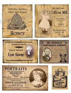 Primitive Farmhouse Pantry Jar Labels Set Sheet #93 in Folk Art & Primitives | eBay