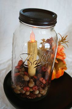 Fall Mason Jar, Autumn Lighted Jar, Candle, Acorns, Pinecones, Mini Pumpkins, Lantern, Fall Autumn Wedding. $17.00, via Etsy.