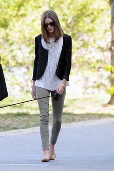 Olive green pants, white blouse, black blazer
