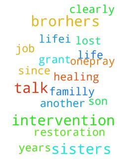 my dear sisters and brorhers ,i need God intervention - my dear sisters and brorhers ,i need God intervention in my life.i lost my job and i need to get another one..pray restoration in my life, healing, God to grant me a familly and my son to talk since he is 4 years and cannot talk clearly Posted at: https://prayerrequest.com/t/K8P #pray #prayer #request #prayerrequest