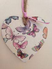 Handmade Butterfly Theme Wooden Hanging Heart Decoration Valentine Heart, Valentines, Diy And Crafts, Paper Crafts, Oh My Heart, Christmas Teddy Bear, Butterfly Party, Wooden Shapes, Heart Crafts