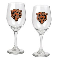 Officially Licensed NFL 2-piece Wine Glass Set - Chicago Bears