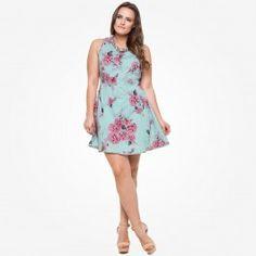 Vestido floral recorte costas