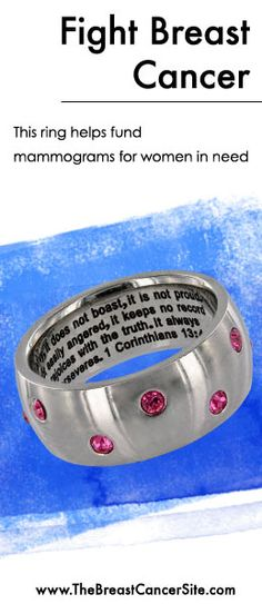 At The Breast Cancer Site, every purchase helps fund mammograms for women in need.   Shop unique jewelry, clothing & gifts that fight breast cancer! Find this ring here: www.Shop2Give.us/ShopToEndBC