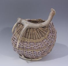 Antler Basket woven with pale blue reed features 2 by TxWeaver, $110.00