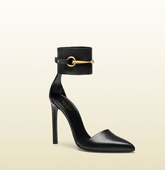 leather ankle-strap pump