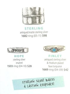 Premier Designs rings in Sterling Silver!  These are a great gift item for those go to silver gals!