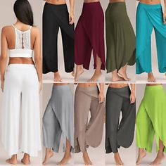 Women Lady Irregular Palazzo Trousers Loose Wide Leg Harem Yoga Pants Plus Size Palazzo Dress Pants, Palazzo Trousers, Trousers Women, Pants For Women, Clothes For Women, Summer Pants Outfits, Outfit Summer, Yoga Harem Pants, Wide Leg Pants