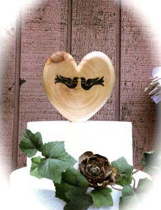 Rustic wedding cake topper wooden heart love birds by MomoRadRose,