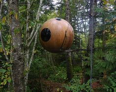 Free Spirit Spheres:  Free Spirit Spheres use trees as their foundation, which reflects our connectedness to nature, and because they're suspended in the air, the human footprint is drastically reduced. #treehouse #design