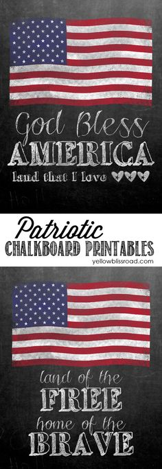 Free Printable Chalkboard with patriotic quotes for 4th of July- lots of free printables on this