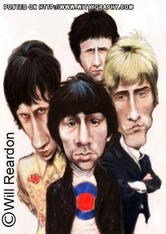 The Who (British Rock band)- illustration of Tall_Will Rock And Roll Bands, Rock Bands, Rock N Roll, Rock Posters, Concert Posters, Art Music, Music Artists, Heavy Metal, Tango