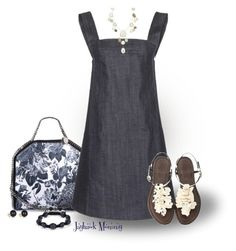 """""""Denim Pinafore"""" by jayhawkmommy ❤ liked on Polyvore"""