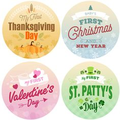 Baby's First Holiday Monthly Stickers for by SweetCheeksCanada