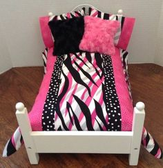 "7 Piece Doll Bedding Set Handmade To Fit Any 18"" Doll Bed** American Made"