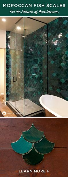 Dream shower! Moroccan Fish scales in deep green colors are stunning for creating a shower wall to make everyone jealous :) See how to buy this handcrafted tile directly on our website! #mercurymosaics