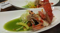 Lattuga liquida, verdure cotte e crude,  Crostacei cotti in acqua di mare