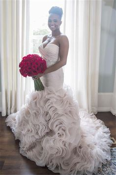 Organza Sleeveless Trumpet/Mermaid Sweetheart Wedding Dresses - by OKDress South Africa