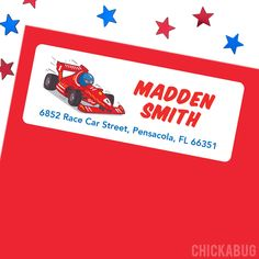 Race Car Party, Race Cars, Personalized Address Labels, Car And Driver, Paper Goods, Parties, Gift Wrapping, Racing, Printables