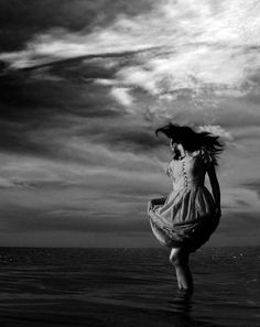 Girl in the sea.