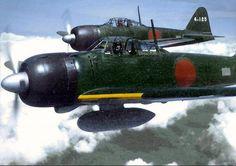 A6M zero fighters in flight over the Solomon islands (1944)