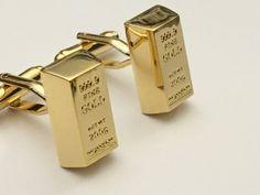Gold Bar Cufflinks, Gold Bullion Cufflinks, Gold Brick Cufflinks, Wedding Cuff Links, Father's Day Cuff Links, Graduation Gift by BrooklynYards on Etsy