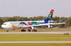 SAA special livery for South African Olympians at (Andreas Loenner) Airplane Painting, Fly Around The World, Aircraft Painting, Airplane Design, Come Fly With Me, Nose Art, Paint Schemes, Olympians, Airplanes