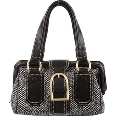 Pre-owned C?line Leather-Trimmed Tweed Bag (220 CAD) ❤ liked on Polyvore featuring bags, handbags, black, hand bags, celine purse, buckle handbags, celine handbags and celine bag