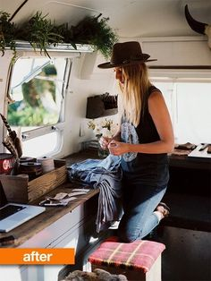 Before & After: 1979 Airstream Gets A Revamp  couple travel and make art to sell as they go