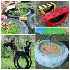 DIY Tire Garden Play Activities - turn old tires into cool play things for kids!