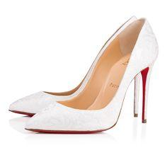 2056148dc2c2 Pigalle Follies 100 Latte Tissu Flower - Women Shoes - Christian Louboutin
