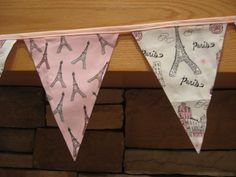 Fabric Banner - Fabric Bunting - Paris - Pink and White by monkeyandlamb on Etsy