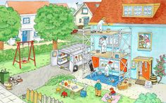 Home improvement / building / renovation Hidden Pictures, Cool Pictures, Illustrations, Book Illustration, Discussion Images, Preschool At Home, Picture Story, How To Speak French, Language Development