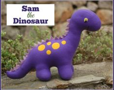 Meet Sam the Dinosaur! Sew this fun, friendly dinosaur as a gift for any dinosaur-loving child in your life. Sam is very cuddly and fun to play with. machine washable and very sturdy. Love Sewing, Sewing For Kids, Hand Sewing, Sewing Toys, Sewing Crafts, Sewing Stuffed Animals, Stuffed Toys, Leftover Fabric, Baby Kind