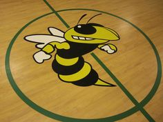 3 color painted logo on a Tarkett Sports Omnisports floor